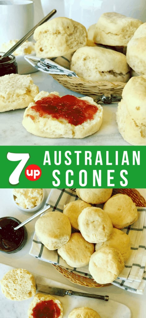 An Easy Scones Recipe made with 7 Up or Sprite. Known as Lemonade Scones in Australia, made with only 3 ingredients! Similar to 7 UP Biscuits. Serve with jam and fresh whipped cream. I love scones for breakfast.