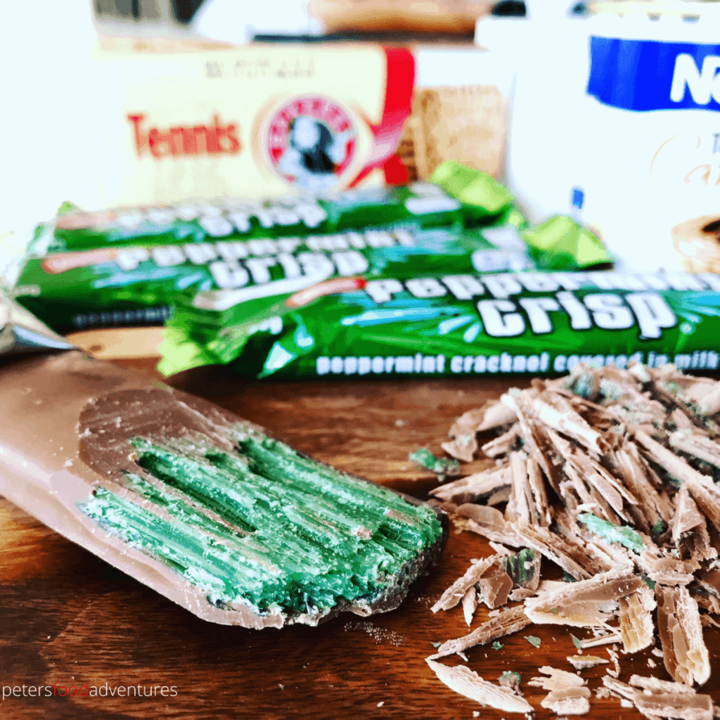 Peppermint Crisp Candy Bar, what it looks like inside with green shards of candy glass