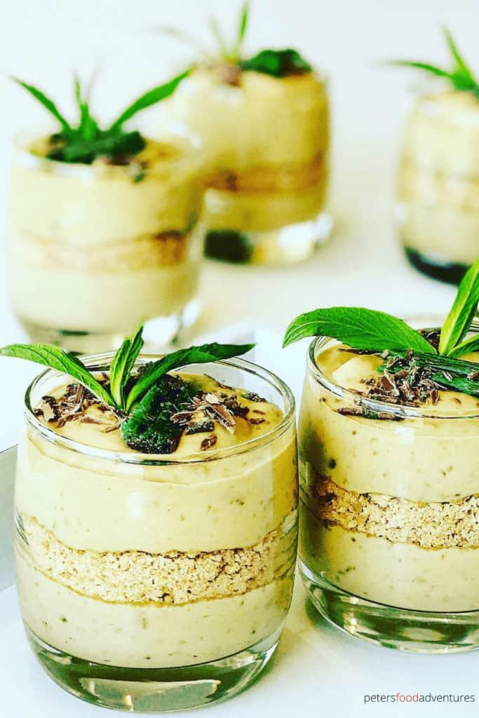 Peppermint Crisp Tart in glasses dessert with fresh mint on top