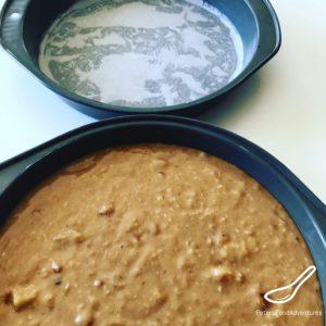 Hummingbird Cake batter in baking pans