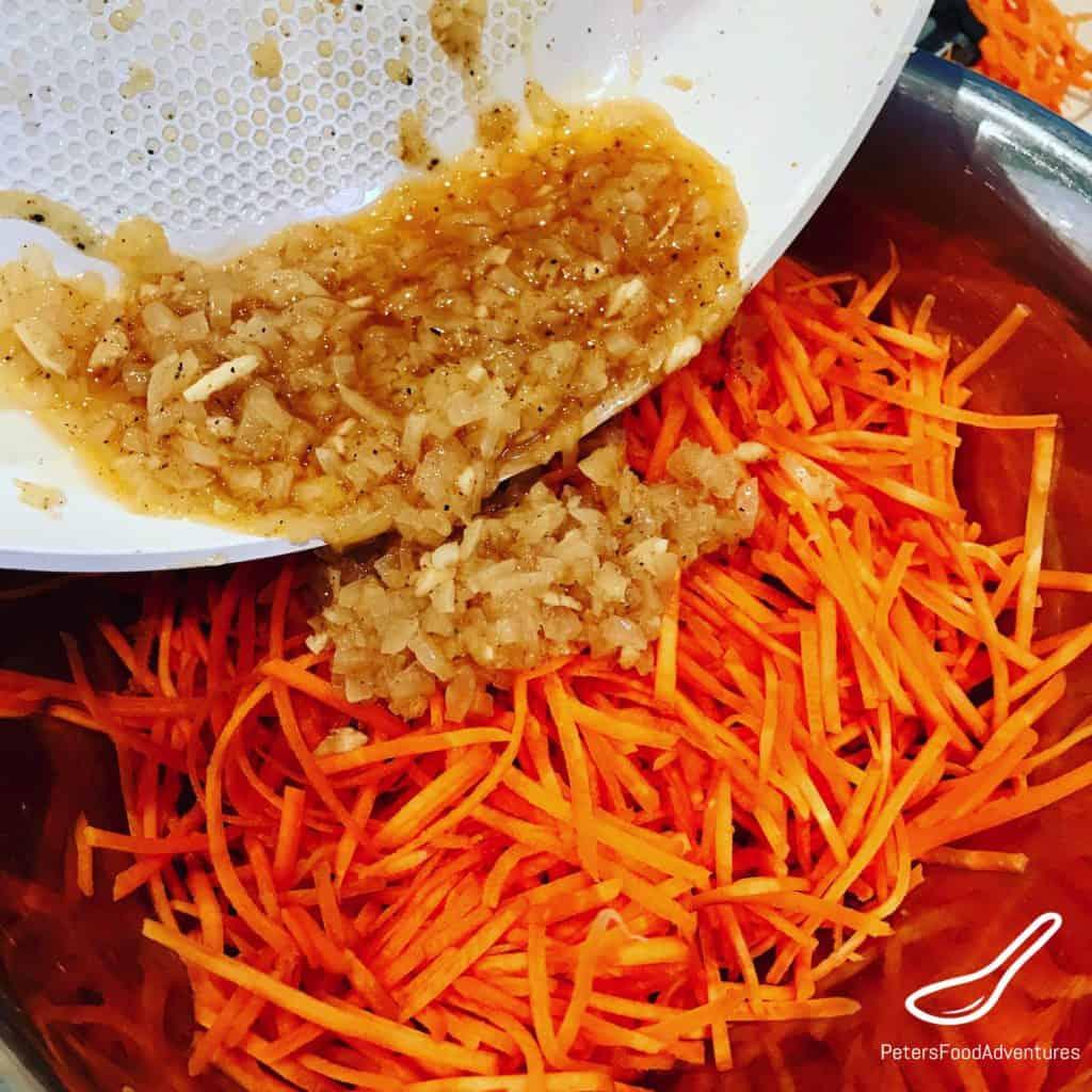 mixing ingredients of carrot salad recipe