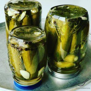 Upside-down dill pickle jars