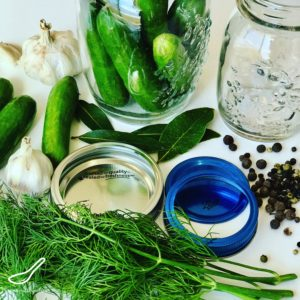Preparing ingredients for dill pickles