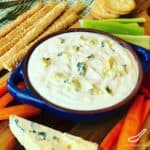 Homemade Blue Cheese Dip Recipe that's so easy to make. An awesome Super Bowl snack, perfect for dipping buffalo wings, celery sticks, vegetables and crackers. Delicious creamy, tangy chunky Bleu Cheese dip.