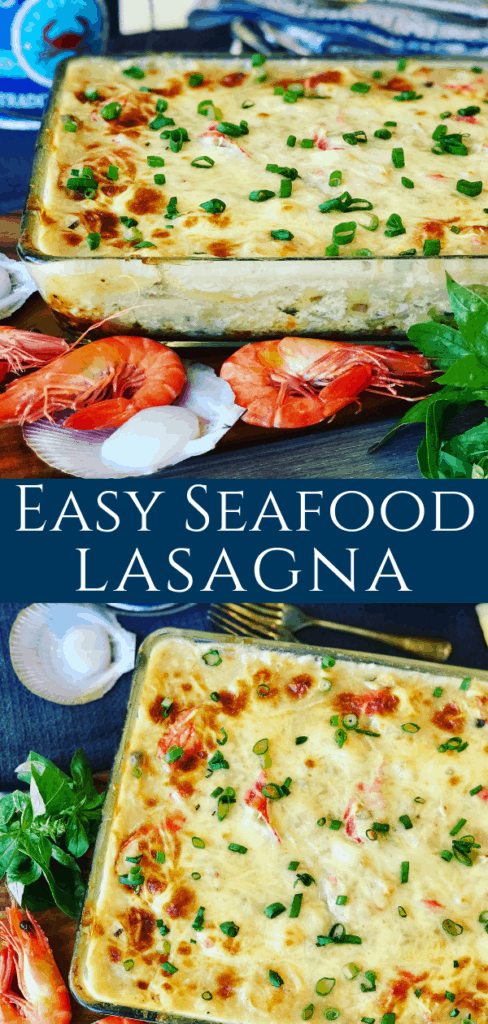 This Easy Seafood Lasagna is made with mushroom soup, shrimp, scallops and imitation crab. Rich and creamy family dinner favorite.