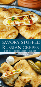 Russian Savory Crepes stacked on a plate