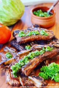 Grilled Meat with Chimichurri Sauce