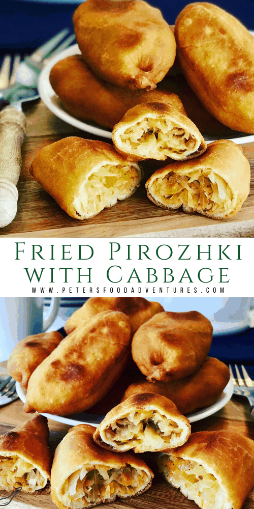 Fried cabbage Pirozhki ripped in half on a plate