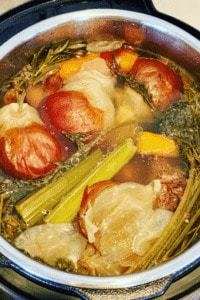 Cooked Vegetables when making Stock