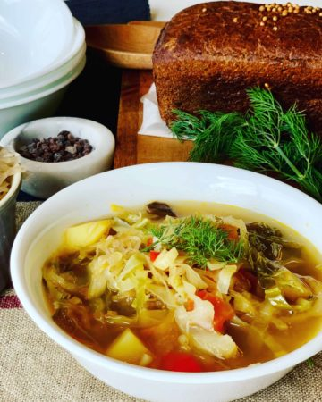Cabbage Soup with Rye Bread and Sauerkraut