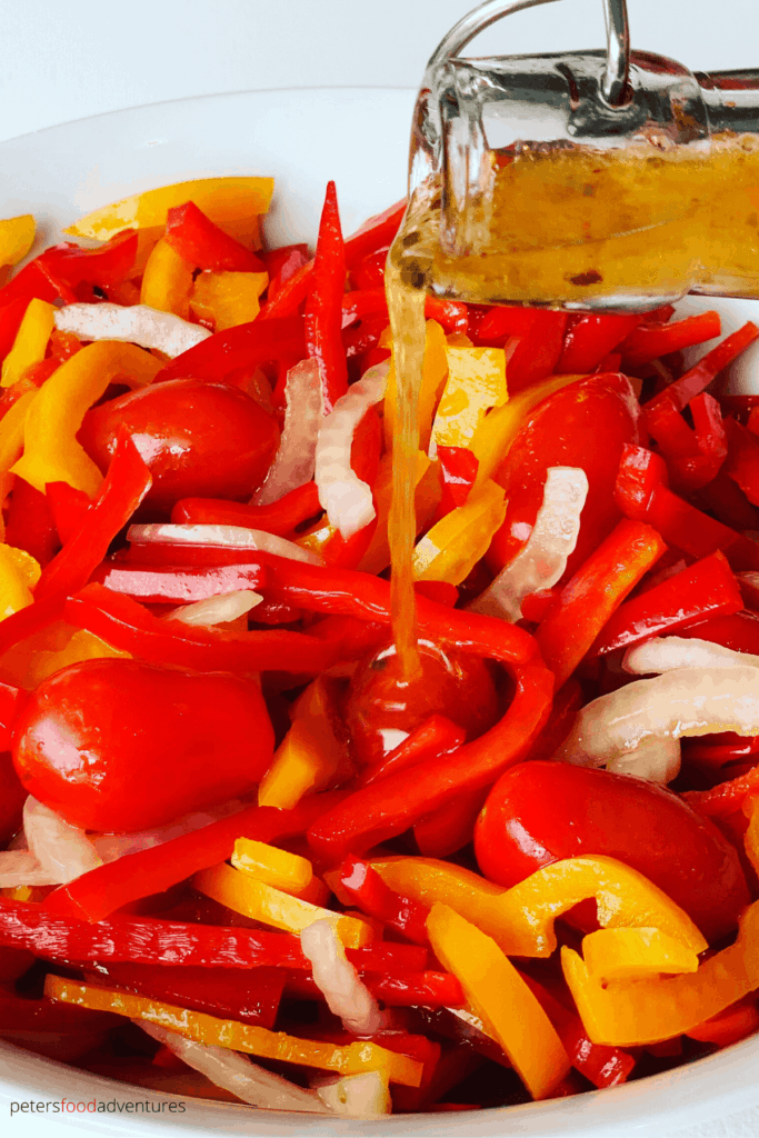 I like making this easy summer salad for long weekend bbq's or potlucks. Not the usual salad that people make, but super tasty and full of vitamins and antioxidants. It's an easy bell pepper recipes the whole family will love.