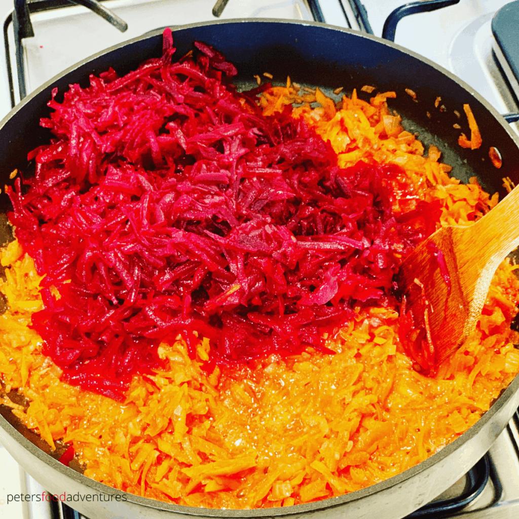 making beet dip in a frying pan