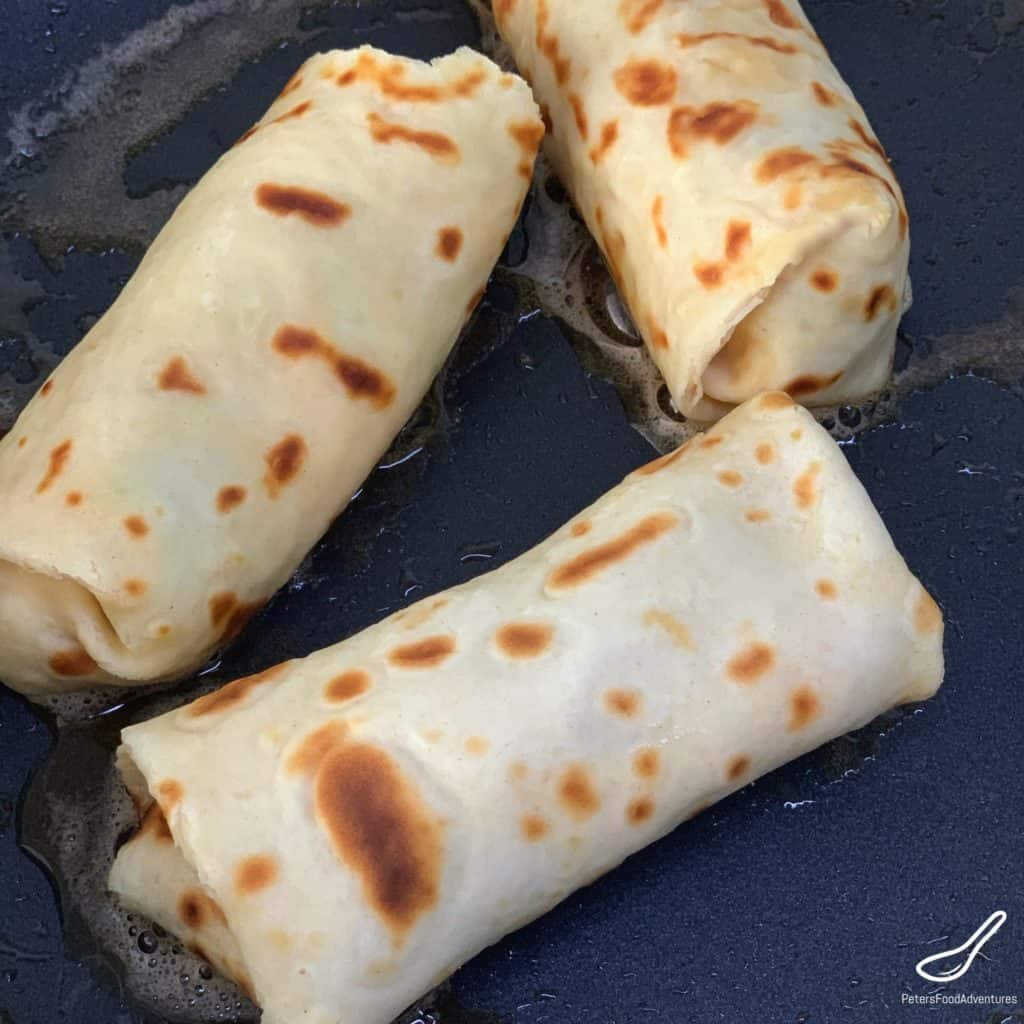 Frying Stuffed Crepes