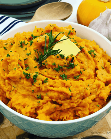 Smooth and creamy Mashed Sweet Potatoes are the perfect side dish for dinner, Thanksgiving or Christmas. Packed with flavor from fresh rosemary and garlic, quick, easy and healthy.