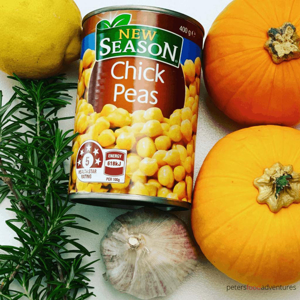 pumpkin hummus ingredients with chickpeas