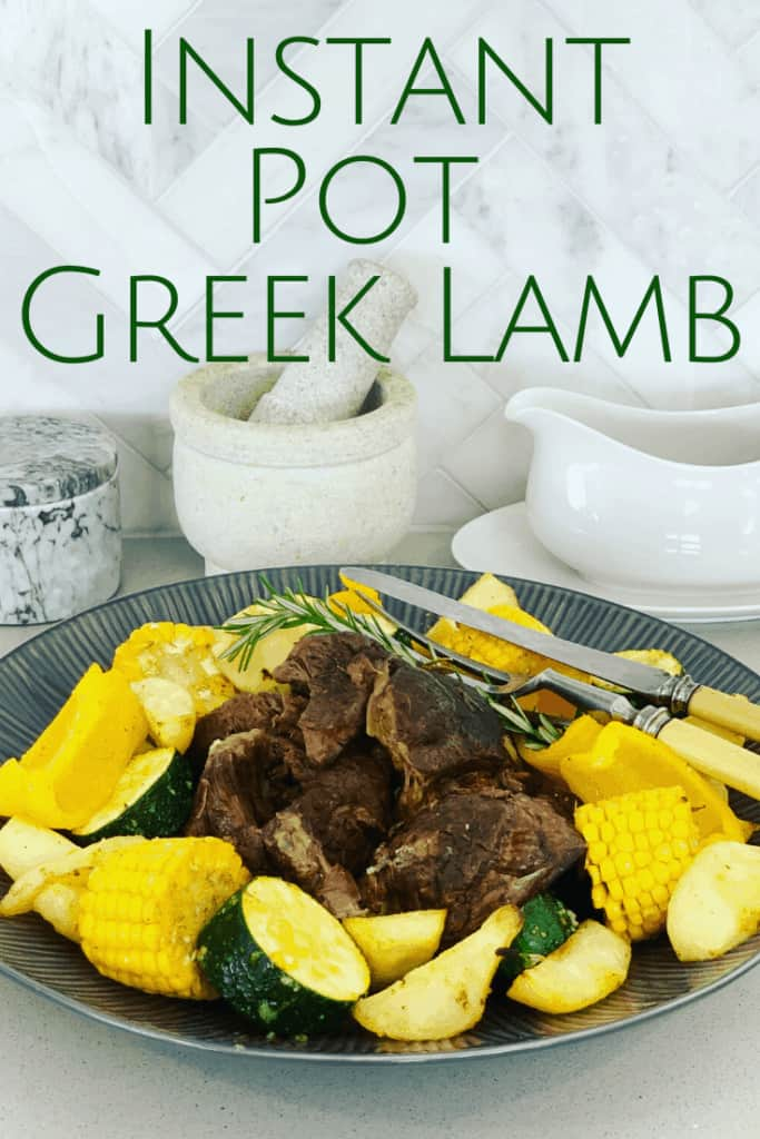 A foolproof Greek Instant Pot Lamb recipe with rosemary, garlic, oregano, thyme, lemon and red wine. An easy pulled lamb or tender roast dinner recipe, a pressure cooker favorite!