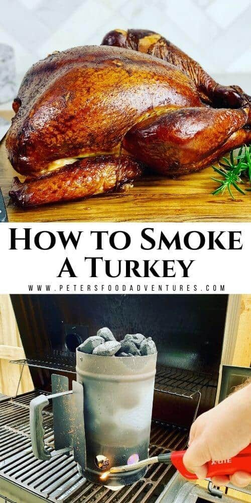 This smoked turkey is brined overnight before being smoked in an offset smoker. A juicy and tender smoked turkey recipe, perfect for Thanksgiving or Christmas