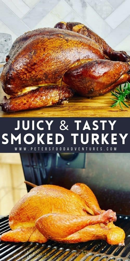 This smoked turkey is juicy and full of flavor. Brined overnight before being smoked in an offset smoker. A juicy and tender smoked turkey recipe, perfect for Thanksgiving or Christmas!