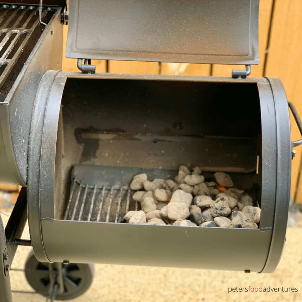 offset smoker charcoals ready for smoking