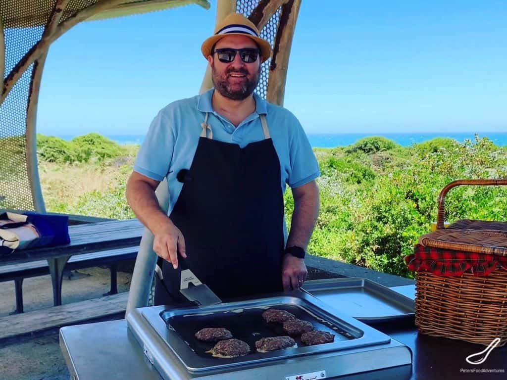 Barbecuing burgers at the beach in Australia