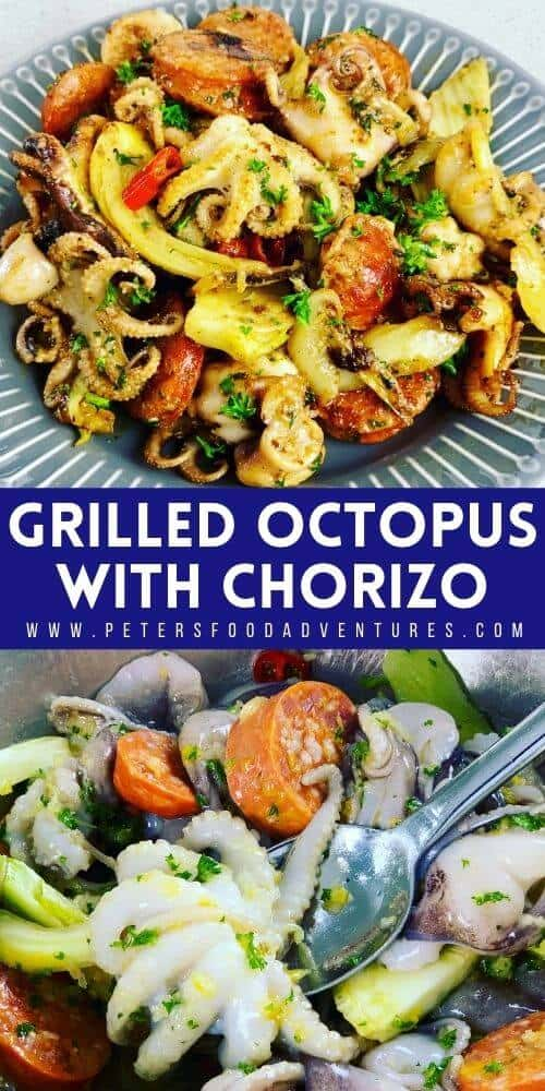 This is my favorite way to eat grilled octopus. Spicy and smoky chorizo compliment the octopus with fennel, making this recipe taste extraordinary! Perfect for lunch, brunch, or as a meze appetizer. So easy and so delicious.