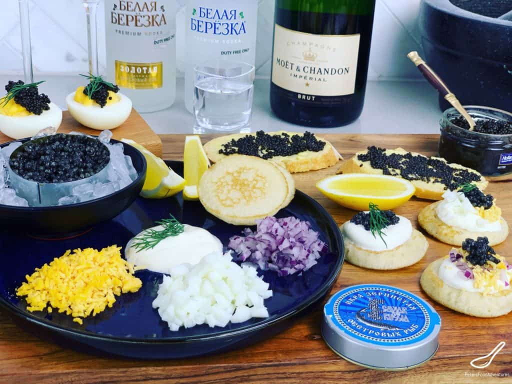 what to drink with caviar - champagne and vodka