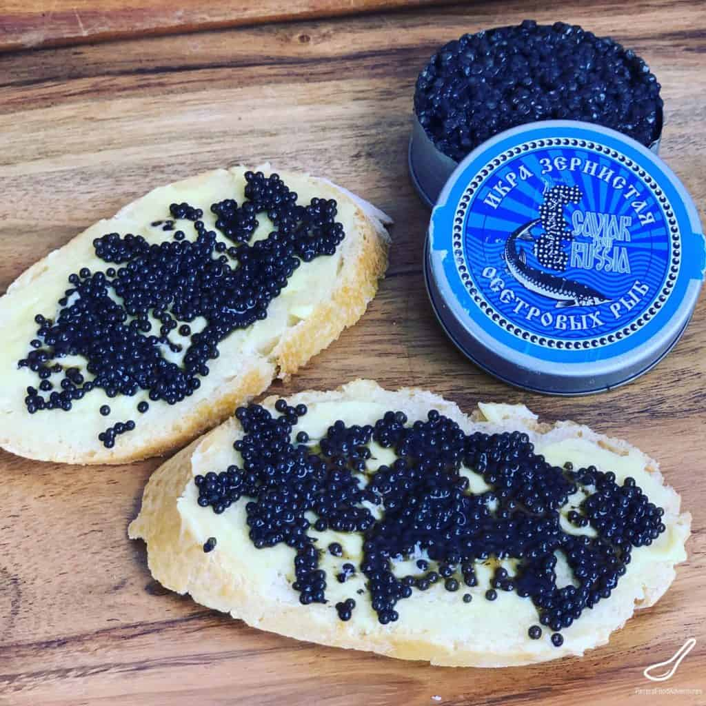 caviar on bread and butter - how Russians eat caviar
