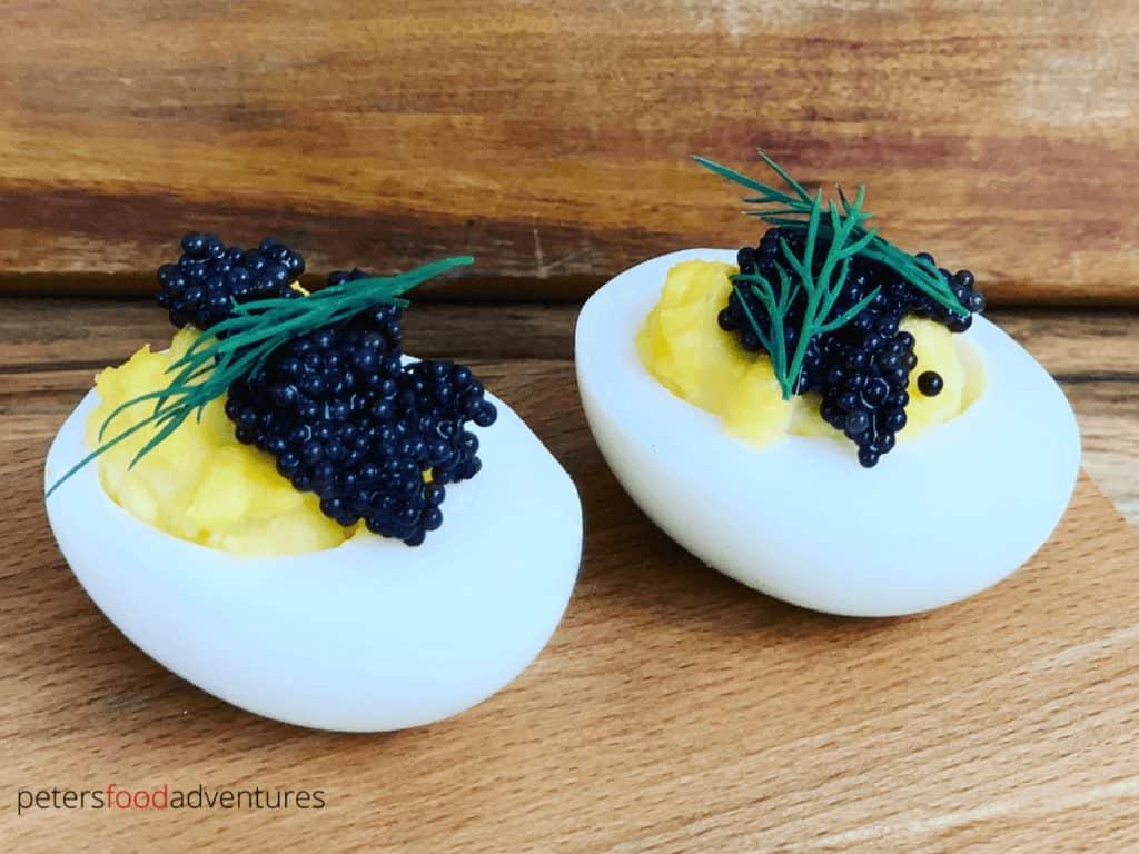 black caviar served on devilled eggs