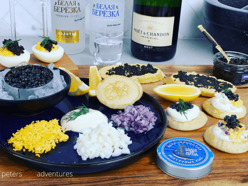 caviar served with Russian Vodka