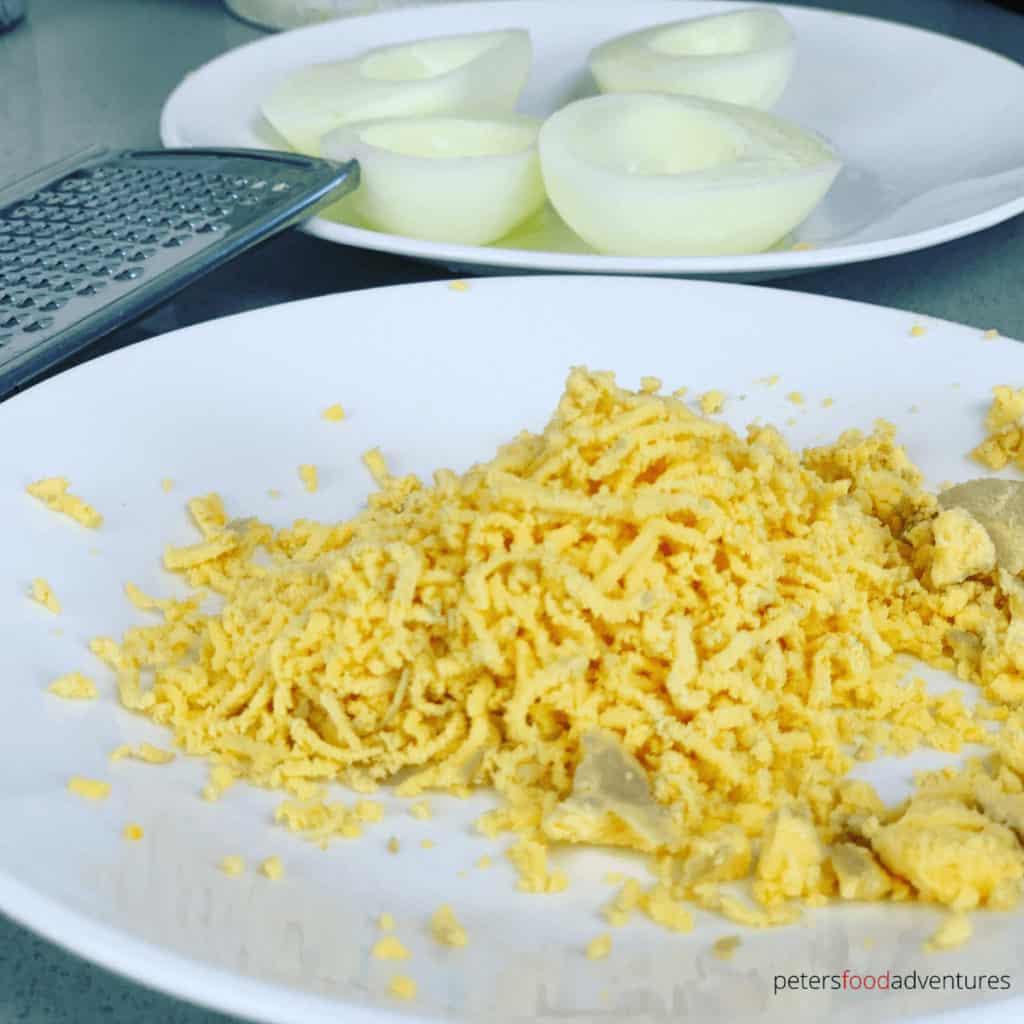 grated egg yolk for caviar garnish