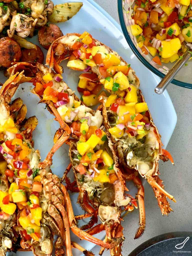 Grilled Lobsters dressed with Mango Salsa