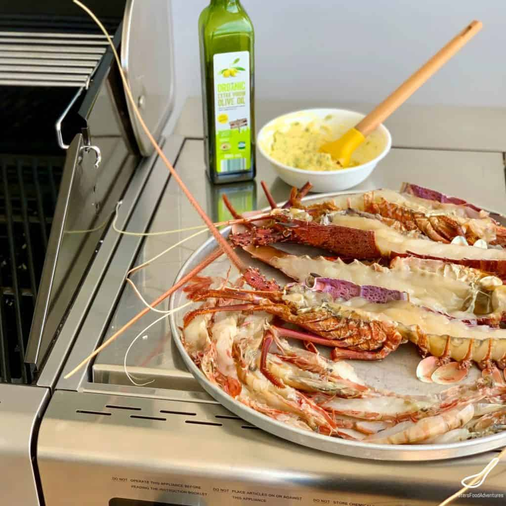 Preparing to grill bbq lobsters