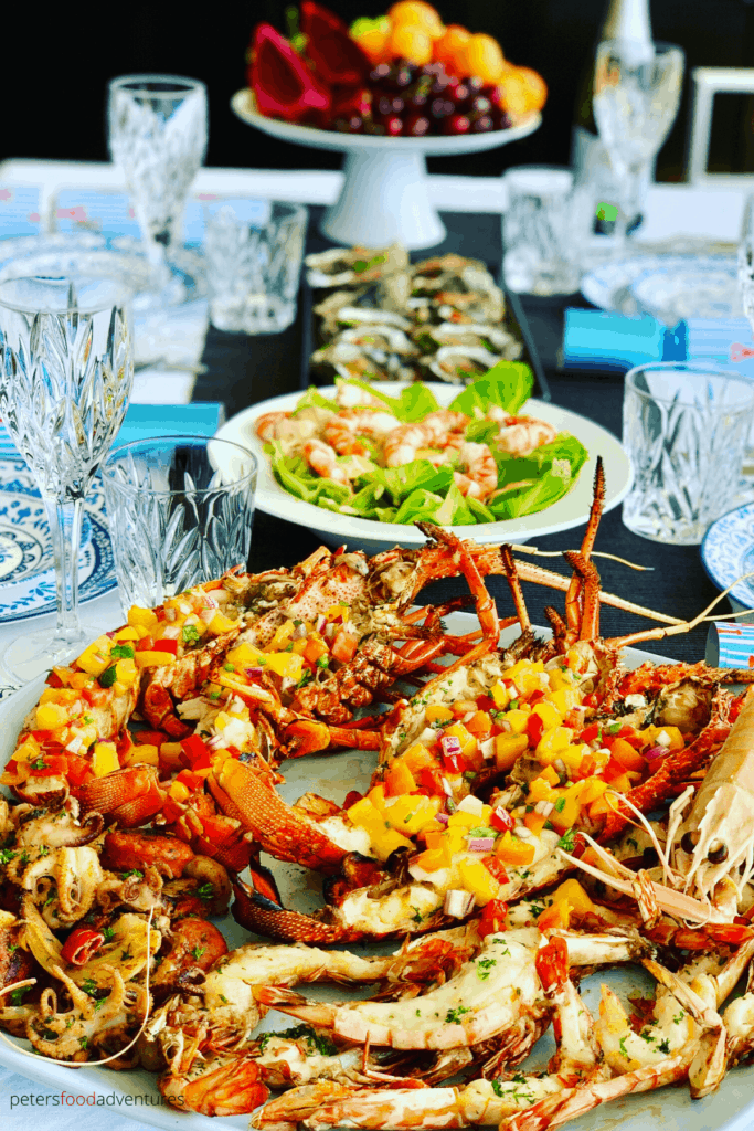 grilled lobsters topped with mango salsa