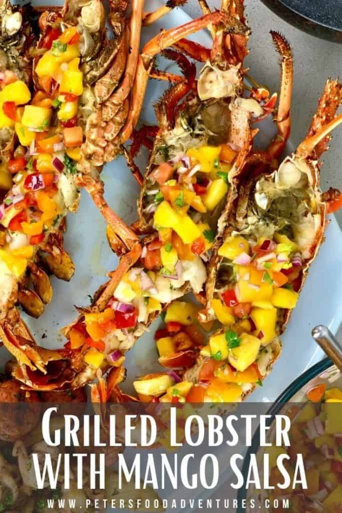 Grilled Australian Rock Lobsters or Grilled Lobster Tails are the perfect summer bbq feast. Dressed with a delicious mango salsa topping, this dish will be the crowning glory of your bbq party. Make it as part of your seafood platter feast, an Australian favorite.