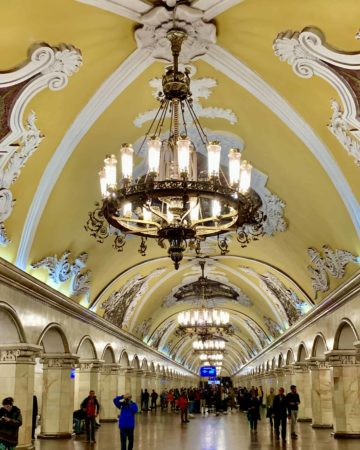 Beautiful Moscow Train Stations Komsomolskaya Station with Chandeliers, a people's palace