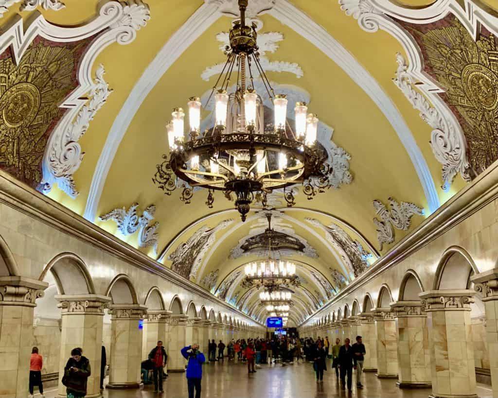 Komsomolskaya metro station with chandeliers