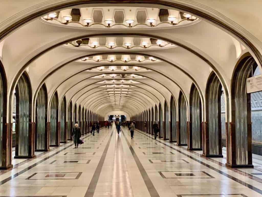 Mayakovskaya Station with polished steel archways