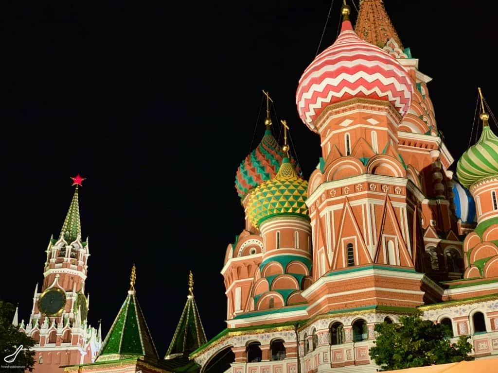 Moscow at night, St Basils and the Kremlin