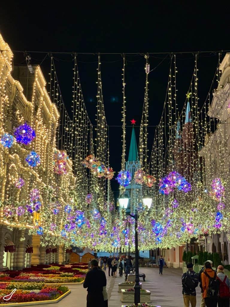 Nikolskaya St and GUM at Night