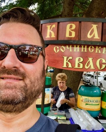 Buying Kvas in Sochi from a street vendor