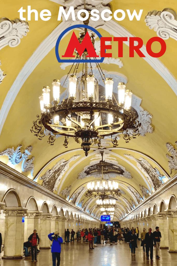 Moscow Metro Komsomolskaya station with hanging chandelier