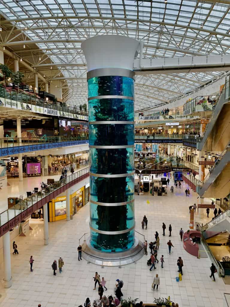 largest cylindrical aquarium in the world in aviapark mall moscow