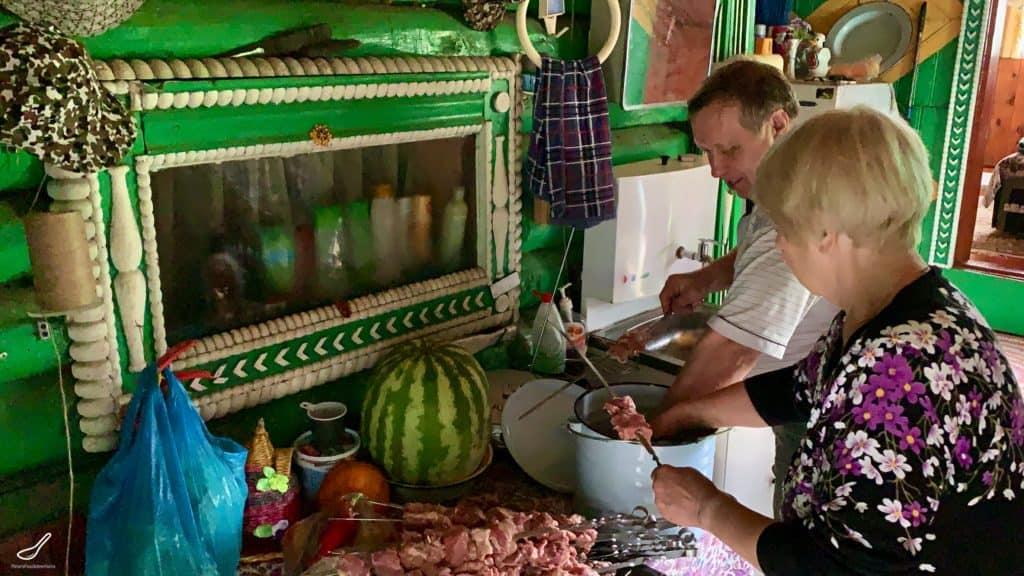 preparing shashlik at the dacha
