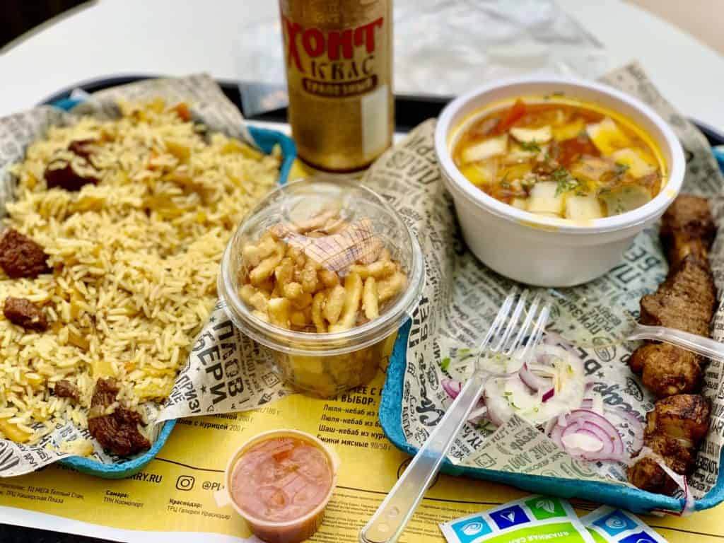 lunch from food court at Aviapark mall, plov, laghman, chak-chak and shashlik