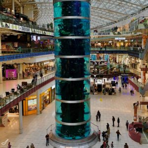 cylindrical aquarium inside aviapark mall in Moscow