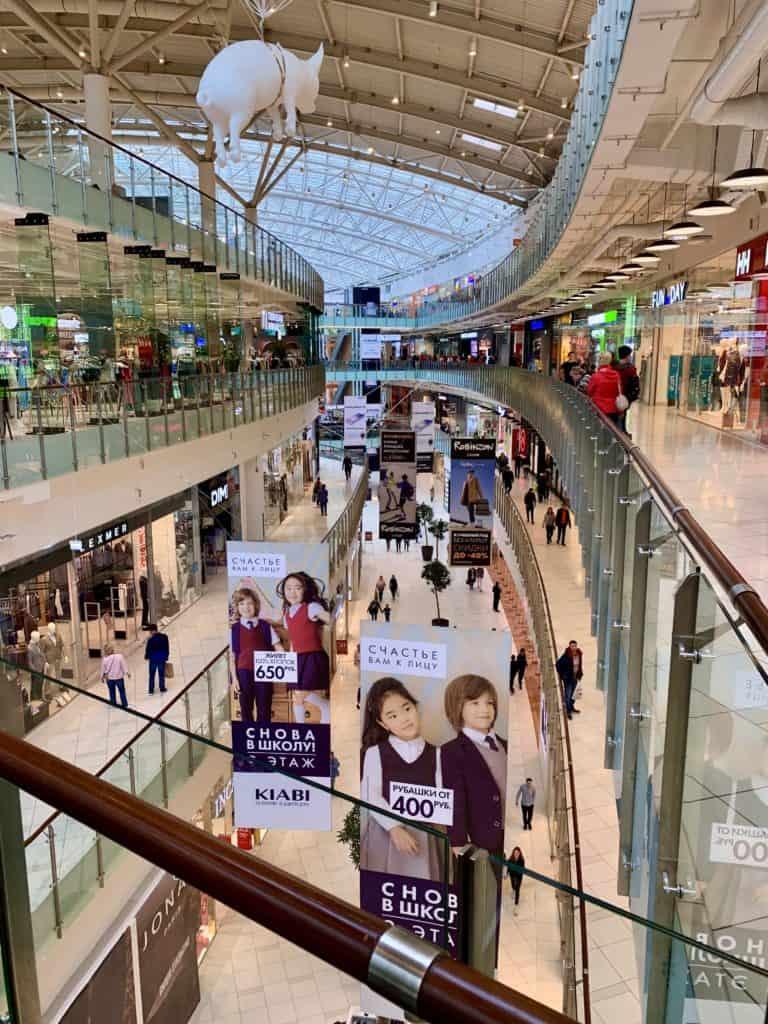 inside aviapark mall in russia, multi level mall