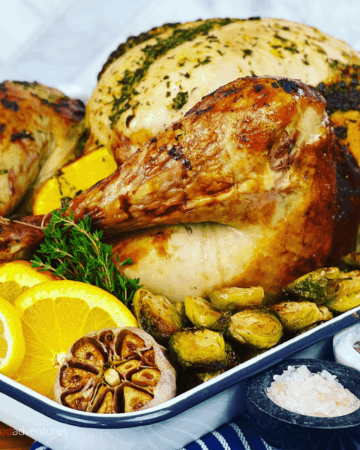 Everyone will love the juicy and flavorful Citrus Turkey with fresh sage and fresh thyme. You gotta try this tasty bird for your Thanksgiving or Christmas dinner.