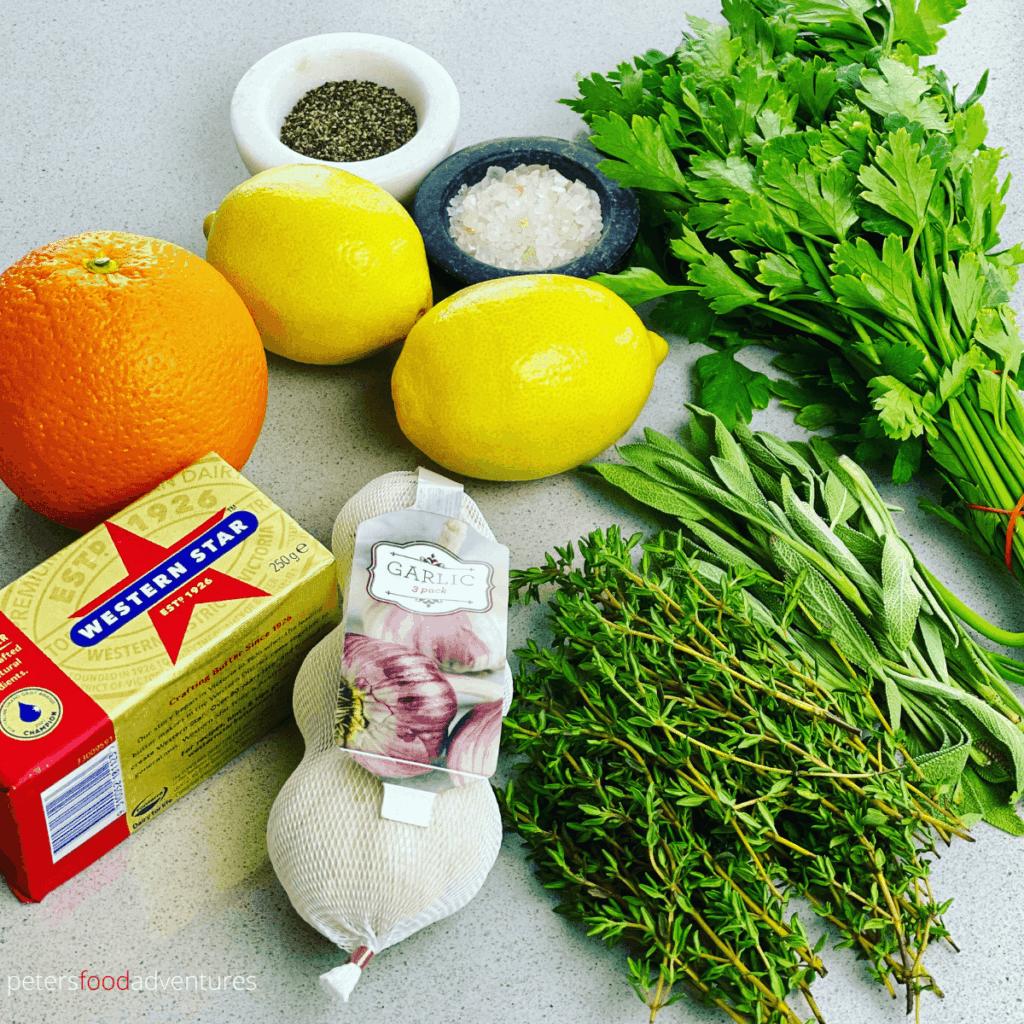 ingredients for a citrus roast turkey