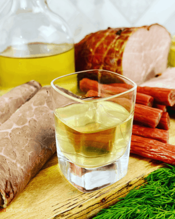 It's easy to make Horseradish Vodka or Hrenovuha (Хреновуха). There are health benefits of horseradish, and most importantly, it boosts your appetite! Perfect for your next Russian feast!