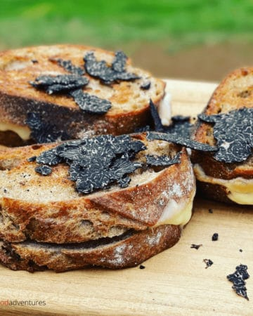 Truffle recipes don't have to be scary! Truffle Grilled Cheese sandwiches are delicious and perfectly paired with black truffles. A nutty, earthy flavor melted through the cheese. A fancy way to enjoy lunch after a truffle hunt!
